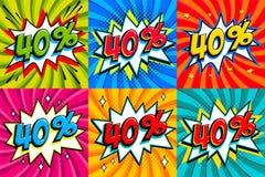 Σύνολο πώλησης Η πώληση σαράντα τοις εκατό 40 από τις ετικέττες σε ένα κτύπημα ύφους Comics διαμορφώνει το υπόβαθρο Λαϊκή προώθησ Στοκ φωτογραφίες με δικαίωμα ελεύθερης χρήσης