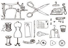 Σύνολο ράβοντας εργαλείων και υλικών ή στοιχεία για τη ραπτική Χειροποίητος εξοπλισμός Κατάστημα ραφτών για τις ετικέτες, badgess διανυσματική απεικόνιση