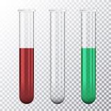 Σύνολο ρεαλιστικής απεικόνισης του σωλήνα δοκιμής τρία με το κόκκινο αίμα ή το πράσινο ρευστό, που απομονώνεται στο διαφανές υπόβ ελεύθερη απεικόνιση δικαιώματος