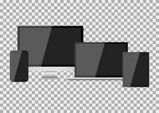 Σύνολο ρεαλιστικής σύγχρονης κενής οθόνης LCD, που οδηγείται, TV, όργανο ελέγχου, lap-top, σημειωματάριο, μαξιλάρι, τηλέφωνο στο  απεικόνιση αποθεμάτων