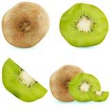 Σύνολο ρεαλιστικού ακτινίδιου Διανυσματική απεικόνιση, φρούτα σε ένα άσπρο υπόβαθρο, βιταμίνες διανυσματική απεικόνιση