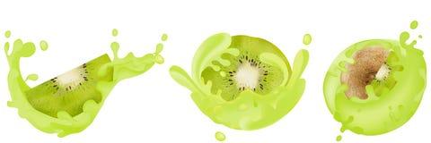 Σύνολο ρεαλιστικού ακτινίδιου με τους παφλασμούς Διανυσματική απεικόνιση, φρούτα σε ένα άσπρο υπόβαθρο, βιταμίνες διανυσματική απεικόνιση