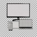 Σύνολο ρεαλιστικού lap-top, ταμπλέτας και κινητού τηλεφώνου με την κενή οθόνη Απομονωμένος στο διαφανές υπόβαθρο διανυσματική απεικόνιση