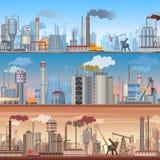 Σύνολο ρεαλιστικών λεπτομερών βιομηχανικών υποβάθρων εμβλημάτων Ιστού Διανυσματικά βιομηχανικά infographic πρότυπα εργοστασίων διανυσματική απεικόνιση