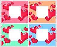 Σύνολο ρομαντικών ζωηρόχρωμων ευχετήριων καρτών με τις καρδιές Σχέδιο αφισών επίσης corel σύρετε το διάνυσμα απεικόνισης Στοκ φωτογραφία με δικαίωμα ελεύθερης χρήσης