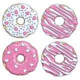 Σύνολο ρόδινων και άσπρων donuts που διακοσμούνται με τις καρδιές Απομονωμένα διανυσματικά αντικείμενα Στοκ Φωτογραφία