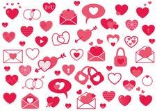 Σύνολο ρόδινων καρδιών, καθορισμένα στοιχεία αγάπης διανυσματική απεικόνιση