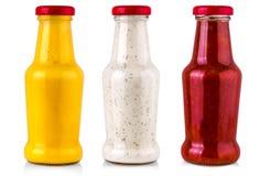 σύνολο σάλτσας που απομονώνεται στο άσπρο υπόβαθρο Στοκ Εικόνες