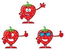 Σύνολο 1 σειράς χαρακτήρα μασκότ κινούμενων σχεδίων φρούτων φραουλών Συλλογή απεικόνιση αποθεμάτων