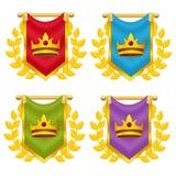 Σύνολο σημαίας ιπποτών με την κορώνα και τη δάφνη διανυσματική απεικόνιση
