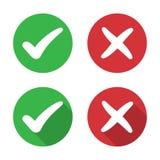 Σύνολο σημαδιού ελέγχου και διαγώνιου εικονιδίου σε ένα επίπεδο σχέδιο απεικόνιση αποθεμάτων