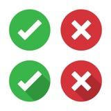 Σύνολο σημαδιού ελέγχου και διαγώνιου εικονιδίου σε ένα επίπεδο σχέδιο διανυσματική απεικόνιση