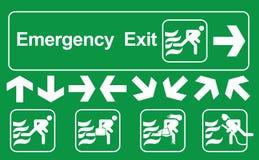 Σύνολο σημαδιού εξόδων κινδύνου: Πράσινο σημάδι εξόδων κινδύνου στο λευκό, σημάδια δρόμων διαφυγής, διανυσματική απεικόνιση διανυσματική απεικόνιση