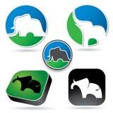 Σύνολο σημαδιών ελεφάντων διανυσματική απεικόνιση