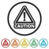 Σύνολο σημαδιών προσοχής προσοχής, 6 χρώματα συμπεριλαμβανόμενα Στοκ Εικόνες