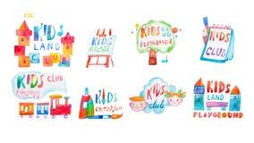 Σύνολο σημαδιών promo watercolor με τις εγγραφές για τη λέσχη παιδιών Στοκ φωτογραφία με δικαίωμα ελεύθερης χρήσης