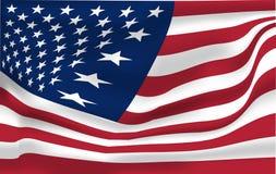 Σύνολο σημαιών ΑΜΕΡΙΚΑΝΙΚΟΥ κυματισμού διανυσματικής απεικόνισης Λωρίδες και αστέρια της αμερικανικής κυματιστής ρεαλιστικής σημα απεικόνιση αποθεμάτων