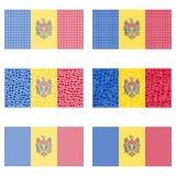 Σύνολο σημαιών της Μολδαβίας μωσαϊκών Στοκ Εικόνες