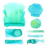 Σύνολο σημείων watercolor στα μπλε και πράσινα χρώματα Αφηρημένη συλλογή λεκέδων και σταγόνων στο διάνυσμα απεικόνιση αποθεμάτων