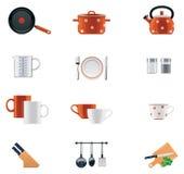σύνολο σκευών για την κουζίνα εικονιδίων Στοκ εικόνα με δικαίωμα ελεύθερης χρήσης