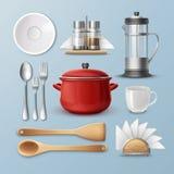Σύνολο σκεύους για την κουζίνα διανυσματική απεικόνιση