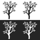 Σύνολο σκιαγραφιών δέντρων με τους κλάδους στο άσπρο και γκρίζο υπόβαθρο διανυσματική απεικόνιση