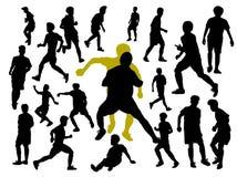 σύνολο σκιαγραφιών ποδοσφαίρου ή ποδοσφαιριστή στοκ εικόνα