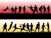σύνολο σκιαγραφιών ποδοσφαίρου ή ποδοσφαιριστή στοκ φωτογραφίες