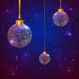 Σύνολο 3 σπινθηροβόλων σφαιρών Χριστουγέννων Στοκ φωτογραφία με δικαίωμα ελεύθερης χρήσης