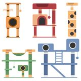 Σύνολο σπιτιών για τις γάτες στο επίπεδο σχέδιο επίσης corel σύρετε το διάνυσμα απεικόνισης Στοκ Εικόνα
