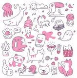 Σύνολο στοιχείου σχεδίου kawaii doodles διανυσματική απεικόνιση