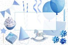 Σύνολο στοιχείων γιορτών γενεθλίων που απομονώνονται στο λευκό Στοκ εικόνα με δικαίωμα ελεύθερης χρήσης