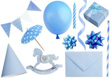 Σύνολο στοιχείων γιορτών γενεθλίων που απομονώνονται στο λευκό Στοκ φωτογραφία με δικαίωμα ελεύθερης χρήσης