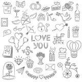 Σύνολο στοιχείων ημέρας βαλεντίνων doodle στο άσπρο υπόβαθρο διανυσματική απεικόνιση