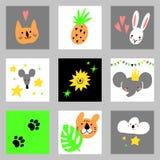 Σύνολο στοιχείων σχεδίου κινούμενων σχεδίων με τα ζώα Για τις κάρτες, προσκλήσεις, βιομηχανία μόδας Handdrawn συλλογή παιδιών Στοκ Εικόνες