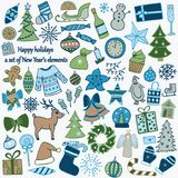 Σύνολο 58 στοιχείων του σχεδίου Το καλό hand-drawn νέο έτος ` s ι Ελεύθερη απεικόνιση δικαιώματος
