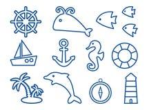 Σύνολο στο θαλάσσιο θέμα, σχέδιο περιλήψεων r διανυσματική απεικόνιση