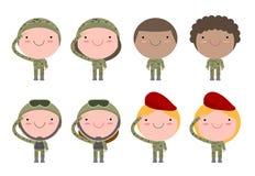 Σύνολο στρατιωτών μπλε γυναίκες ουρανού οικογενειακών ευτυχείς ανδρών ανασκόπησης επίπεδο σχέδιο χαρακτήρα κινουμένων σχεδίων που διανυσματική απεικόνιση