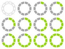 Σύνολο στρογγυλών γραφικών διαγραμμάτων πιτών πράσινων και γκρίζων ελεύθερη απεικόνιση δικαιώματος