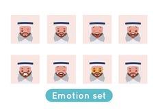 Σύνολο συγκίνησης ειδώλων Αραβικός σαουδικός επιχειρηματίας διανυσματική απεικόνιση