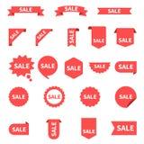 Σύνολο συλλογής ετικετών πώλησης ετικέττες πώλησης μόδας εξαρτημάτων Κορδέλλες, εμβλήματα και εικονίδια έκπτωσης κόκκινες Ετικέττ απεικόνιση αποθεμάτων