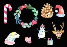Σύνολο συμβόλων Χριστουγέννων στοιχείων Watercolor σχεδίου Στοκ Φωτογραφία