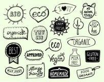 Σύνολο συμβόλων eco - βιο, eco, οργανικός, vegan, το γάλα ελεύθερο, καρύδι ελεύθερο, ενέκρινε, σπιτικός, ελεύθερο, καλύτερο προϊό απεικόνιση αποθεμάτων