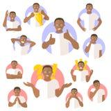 Σύνολο συναισθηματικών εκφράσεων μαύρων, επίπεδα εικονίδια σχεδίου απεικόνιση αποθεμάτων