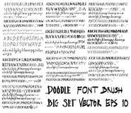 Σύνολο συρμένης γραμμής eps σκίτσων απεικόνισης βουρτσών πηγών χέρι Στοκ Φωτογραφίες
