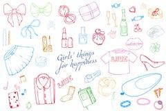 Σύνολο συρμένης χέρι απεικόνισης μόδας προτύπων με την ουσία κοριτσιών Σύνολο ιματισμού, κοσμήματος, καλλυντικών, δώρων και ειδυλ απεικόνιση αποθεμάτων