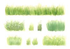 Σύνολο συρμένης χέρι πράσινης χλόης watercolor, χρώμα φύσης Στοκ φωτογραφίες με δικαίωμα ελεύθερης χρήσης