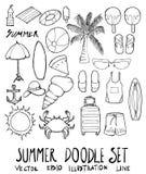 Σύνολο συρμένης doodle γραμμής σκίτσων θερινής απεικόνισης χέρι Στοκ Εικόνες