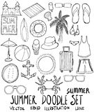 Σύνολο συρμένης doodle γραμμής σκίτσων θερινής απεικόνισης χέρι Στοκ φωτογραφία με δικαίωμα ελεύθερης χρήσης