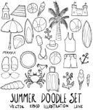 Σύνολο συρμένου doodle διανύσματος γραμμών σκίτσων θερινής απεικόνισης χέρι Στοκ Εικόνες